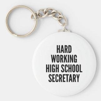 Hard Working High School Secretary Basic Round Button Keychain