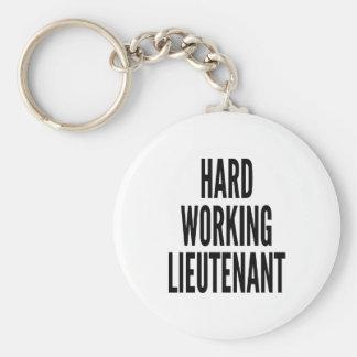 Hard Working Lieutenant Basic Round Button Keychain