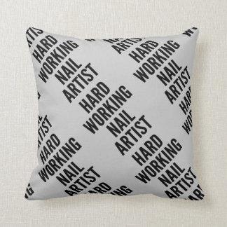 Hard Working Nail Artist Throw Pillow