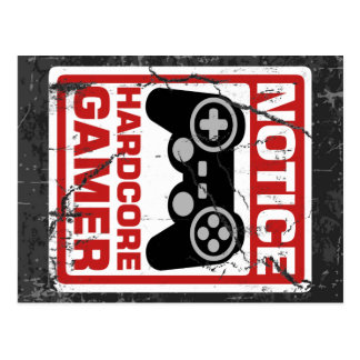 Hardcore Gamer Notice Signboard Postcard