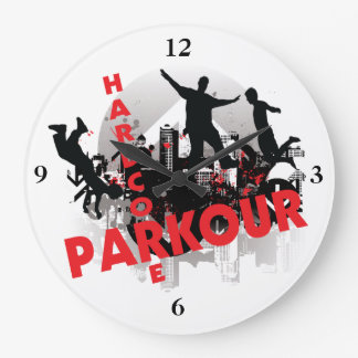 Hardcore Parkour Grunge City Large Clock