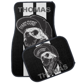 Hardcore Skull Bandana White Stripes Personalized Car Mat