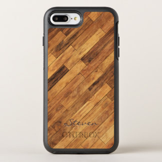 Hardwood Wood Grain Monogram Name OtterBox Symmetry iPhone 8 Plus/7 Plus Case