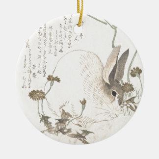 Hare and Dandelion, Kubo Shunman, Japanese Art Ceramic Ornament