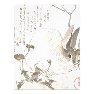 Hare and Dandelion, Kubo Shunman, Japanese Art Letterhead