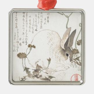Hare and Dandelion, Kubo Shunman, Japanese Art Metal Ornament