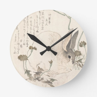 Hare and Dandelion, Kubo Shunman, Japanese Art Round Clock
