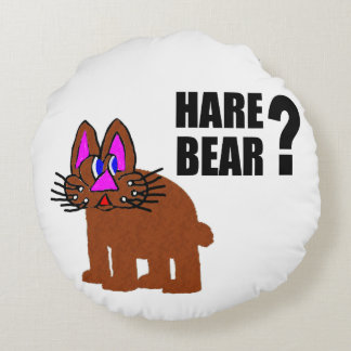 Hare Bear? Round Pillow