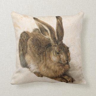 Hare by Albrecht Dürer - Flower Symbol Back Throw Pillow