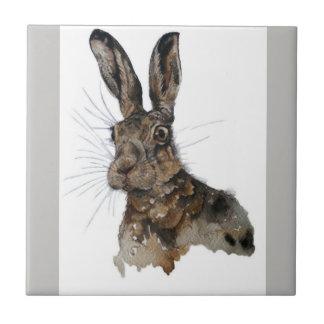 Hare ceramic photo tile