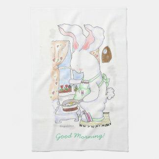Hare Cook Frying Eggs  towel