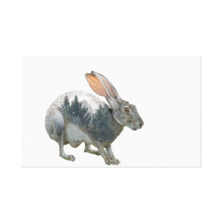 Hare Double Exposure Canvas Print