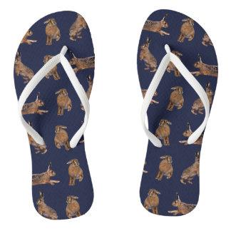 Hare Frenzy Flip Flops (Navy)