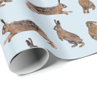 Hare Frenzy Wrapping Paper (Blue)