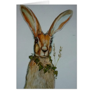 hare illustration with garland of ivy card