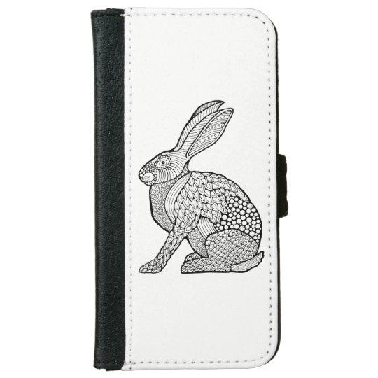 Hare Line Art Design iPhone 6 Wallet Case