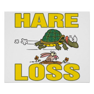 hare loss funny hair loss fable pun cartoon posters