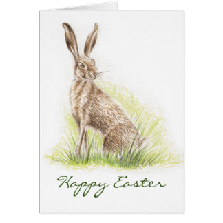 Hare Print Easter Card