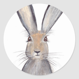 Hare rabbit watercolor classic round sticker