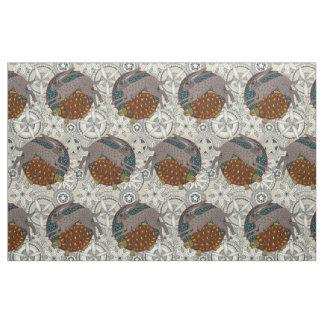 hare tortoise mandala fabric