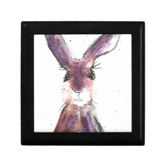Hare watercolor painting gift box