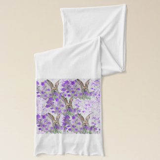 Hares in Purple Heather Scarf