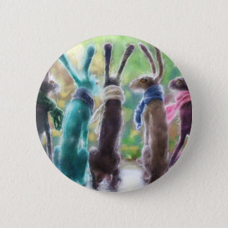 Hares with scarves 2 inch round button