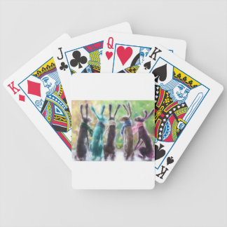 Hares with scarves bicycle playing cards