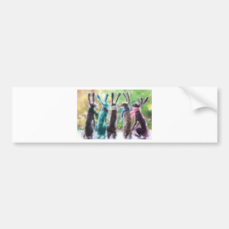 Hares with scarves bumper sticker