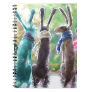 Hares with scarves notebook