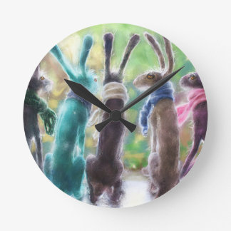 Hares with scarves round clock