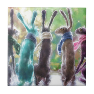 Hares with scarves tile