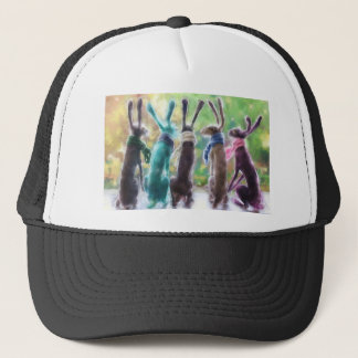 Hares with scarves trucker hat
