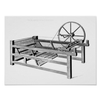 Hargreaves's Spinning Jenny, engraved by Poster