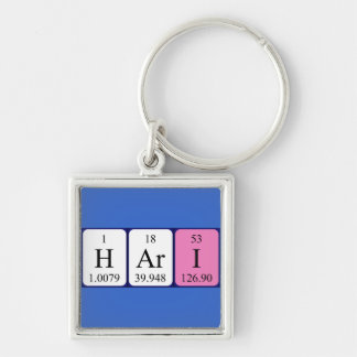 Hari periodic table name keyring Silver-Colored square keychain