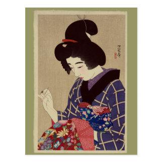 """""""Hari shigoto"""" (Sewing) by Itō Shinsui Postcard"""