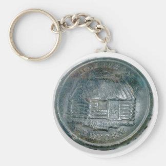"Harision ""Log Cabin"" Button Basic Round Button Keychain"