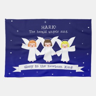 Hark! The Herald Angels Sing Glory To Newborn King Kitchen Towel