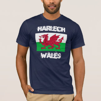 Harlech, Wales with Welsh flag T-Shirt