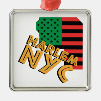 Harlem NYC Silver-Colored Square Ornament