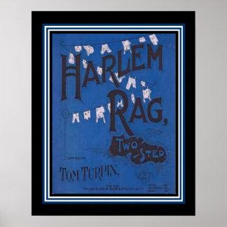 """""""Harlem Rag""""  Vintage Two Step Sheet Music Poster"""
