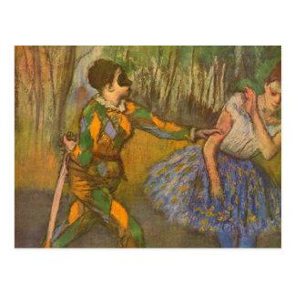 Harlequin and Columbine by Edgar Degas Vintage Art Postcard