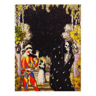 Harlequin and Death Postcard
