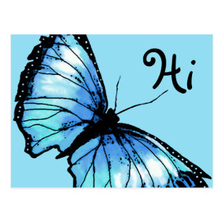 """Harlequin"" (Blue Butterfly) Postcard"