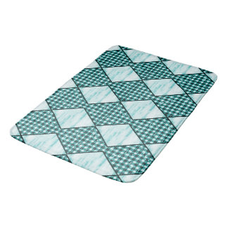 Harlequin-Blue-Wood-Gingham Bath Mat