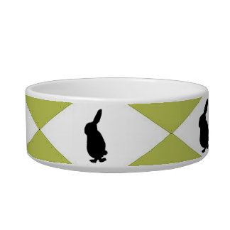 Harlequin_Bunnies-Name-Template_Lime*- Unisex Cat Water Bowls