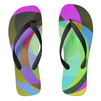 Harlequin circles flip flops