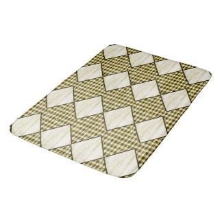 Harlequin-Cream-Wood-Diamonds-Brown-Gingham Bath Mat