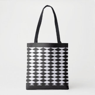 Harlequin Customizable White Diamond Tote Bag