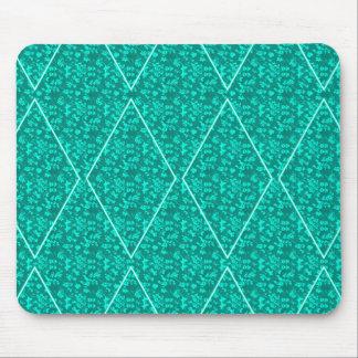 Harlequin--Diamond_Aqua-Floral_Unisex Mouse Pad